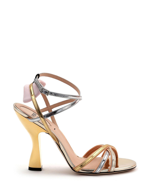 740a08942a8 Lyst - Fendi Colibri Mixed Metallic Sandals in Metallic
