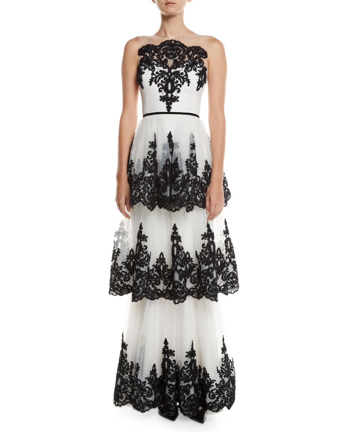 8ef293a2 Marchesa notte Embroidered 3-tier Strapless Gown in White - Lyst