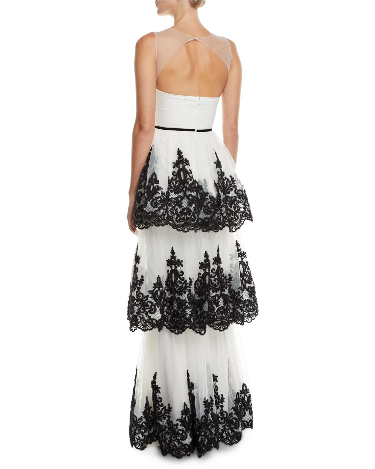 939f54bacec Lyst - Marchesa notte Embroidered 3-tier Strapless Gown in White