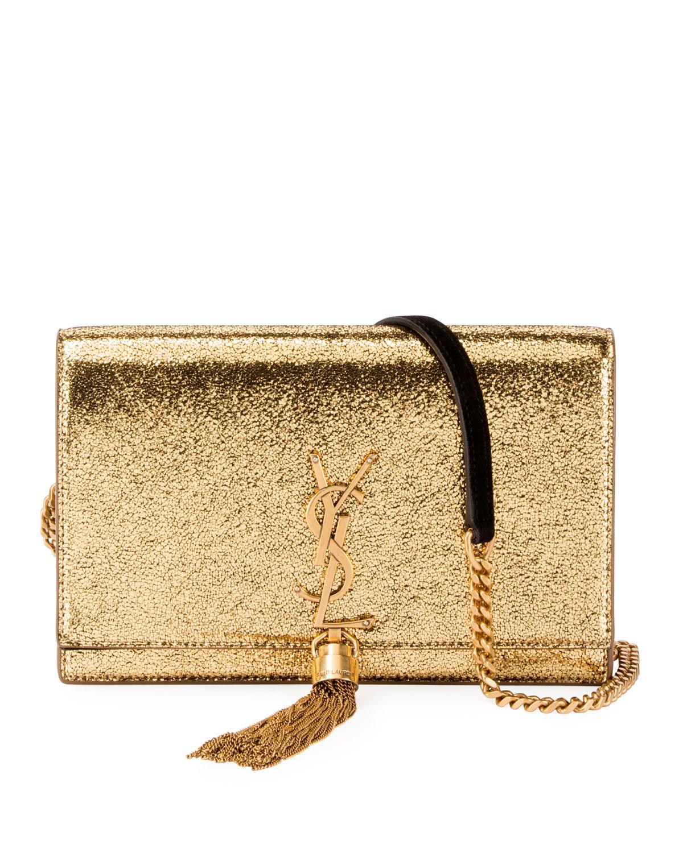83389622eb8 Saint Laurent Kate Monogram Ysl Small Crackled Metallic Wallet On ...