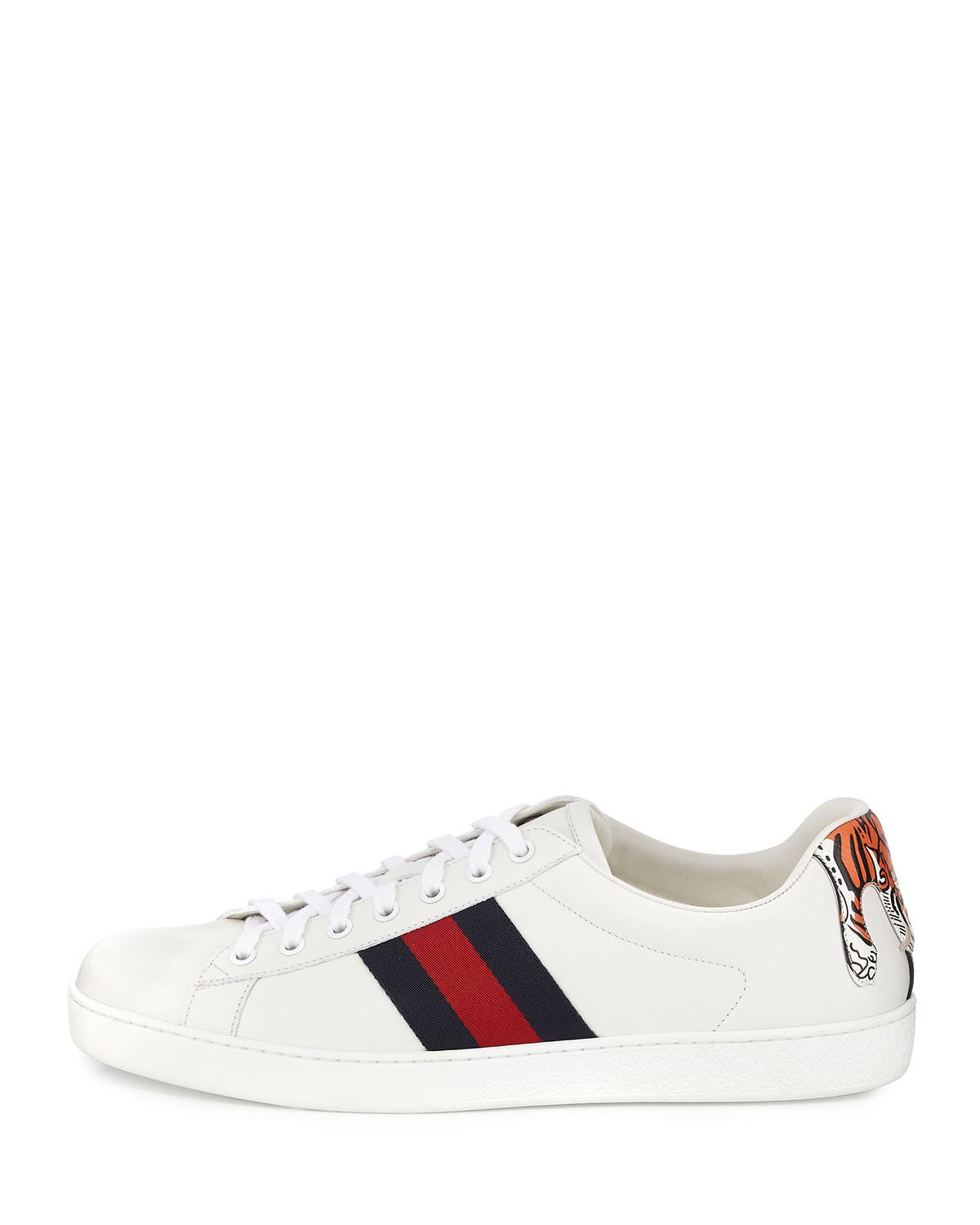 37ea64b1f39 Lyst - Gucci New Ace Hanging Tiger Leather Low-top Sneaker in White