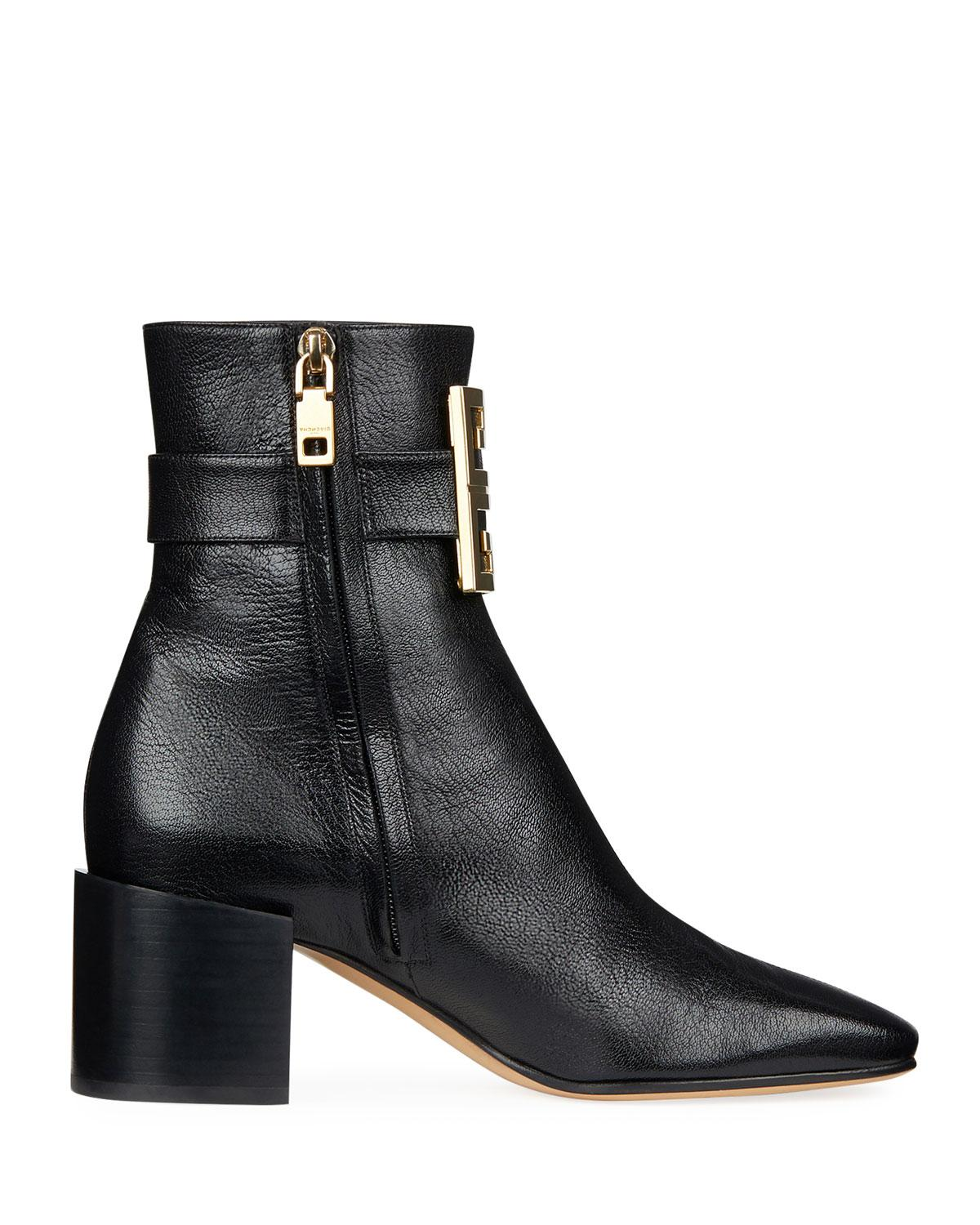 d50b096cc0e9 Lyst - Givenchy 4g Logo Leather Block-heel Ankle Boots in Black