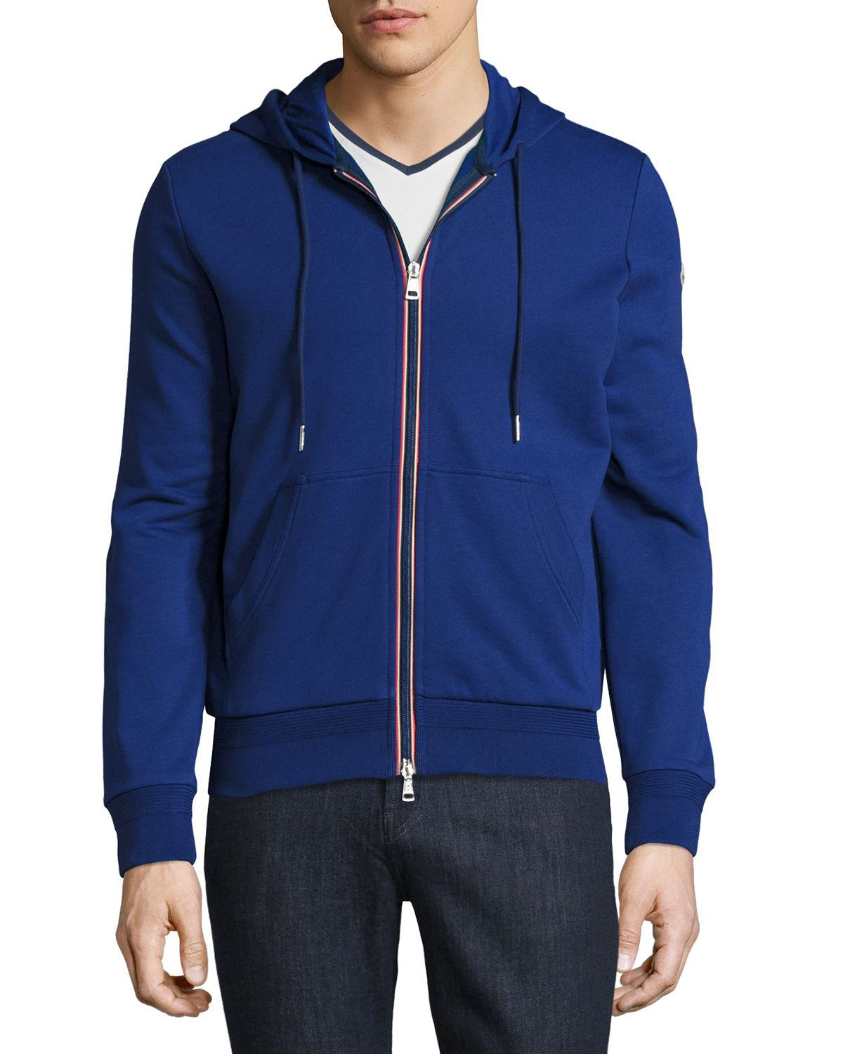 7bb858ae7 Lyst - Moncler Tricolor-trim Zip-front Hoodie in Blue for Men