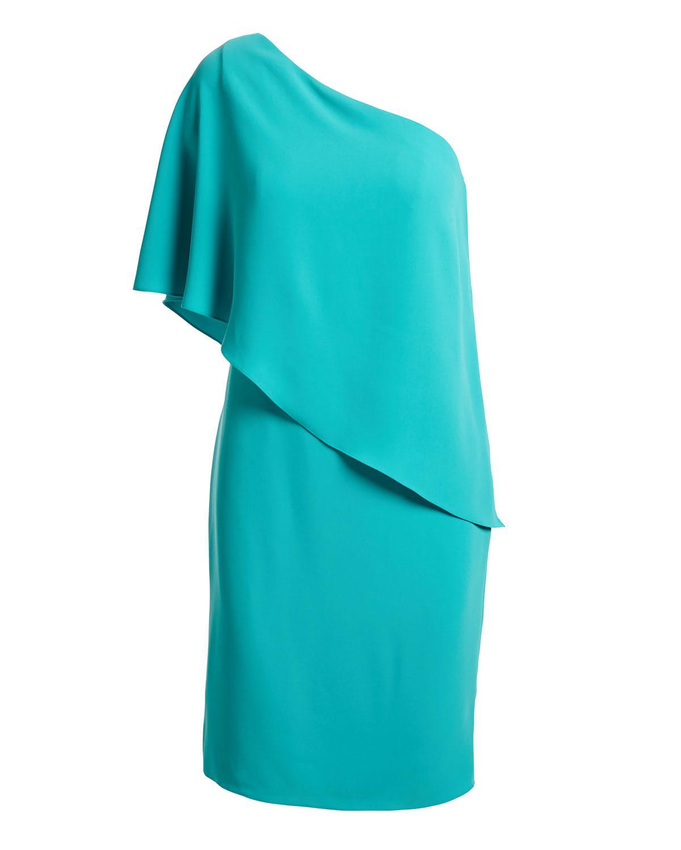 Carmen marc valvo turquoise cocktail dress