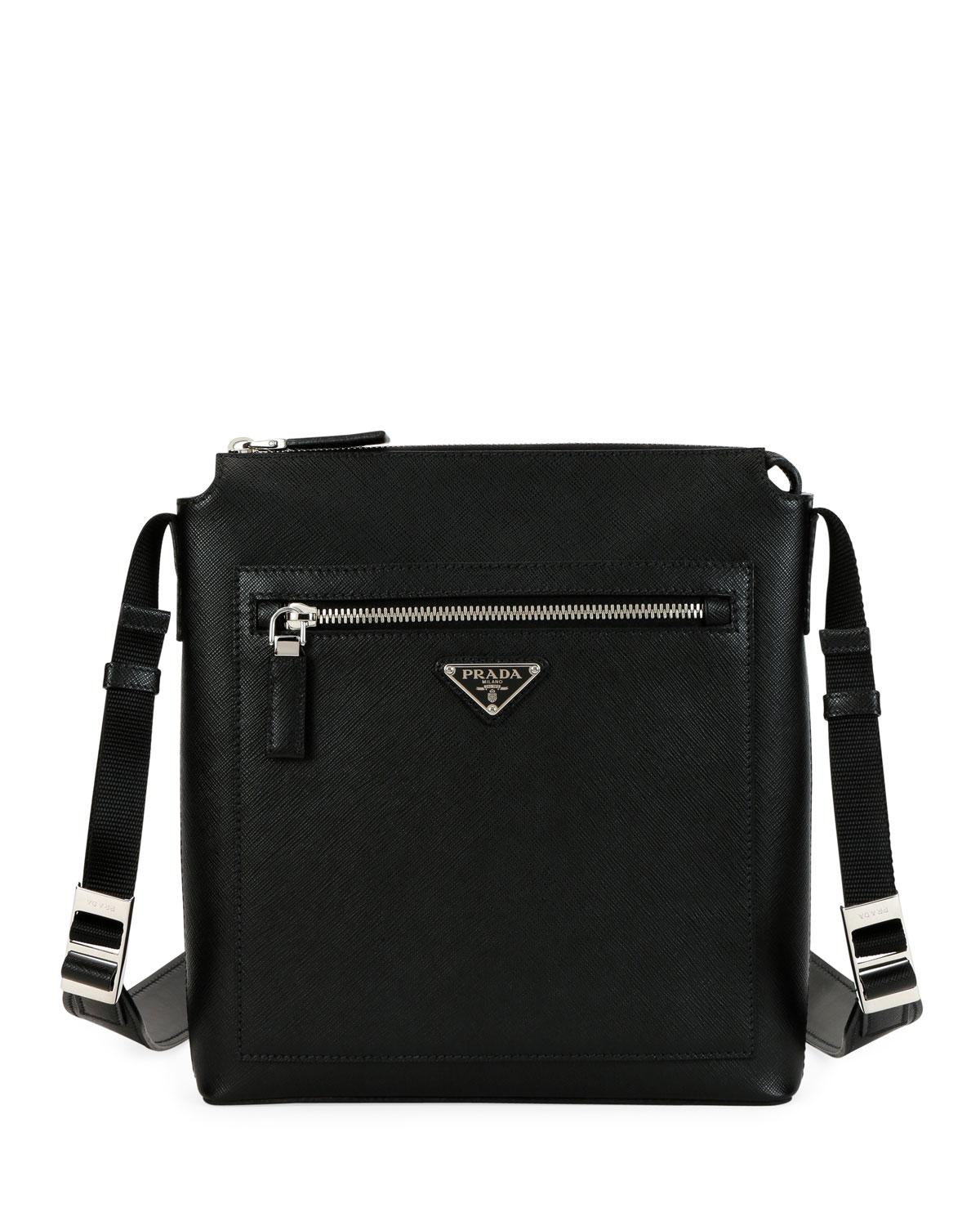 3864e61b0a78 Prada - Black Men s Saffiano Leather Travel Crossbody Bag - Lyst. View  fullscreen