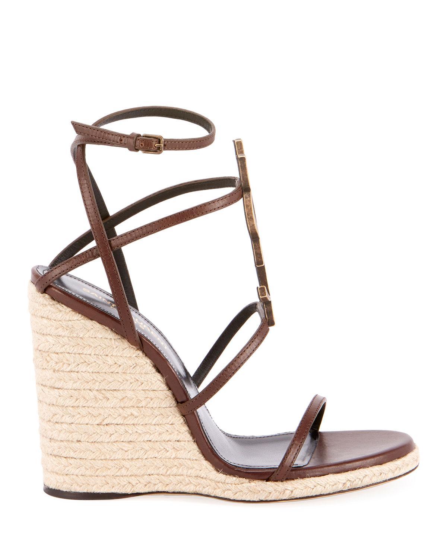 c6fff9bb981 Saint Laurent Cassandra Leather Espadrille Wedge Sandals in Brown - Save 4%  - Lyst