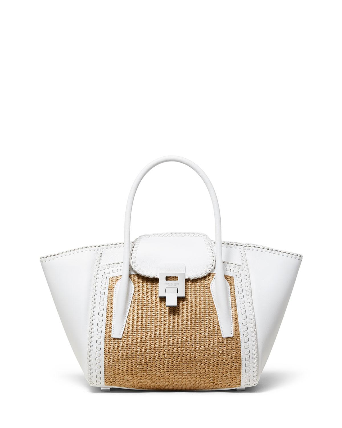 7d3cd94bcc84 Michael Kors Straw And Leather Medium Satchel Bag in White - Lyst