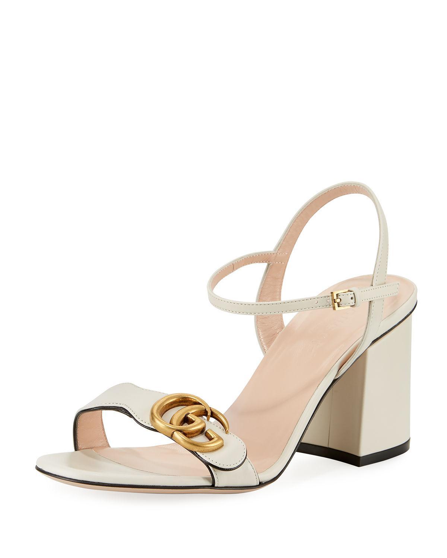 8da77afceb9 Lyst - Gucci Marmont Leather GG Block-heel Sandals in White