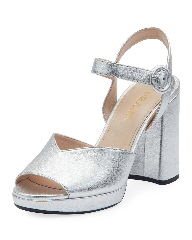 bc4510eff64 Lyst - Prada Metallic Platform 95mm Sandals in Metallic