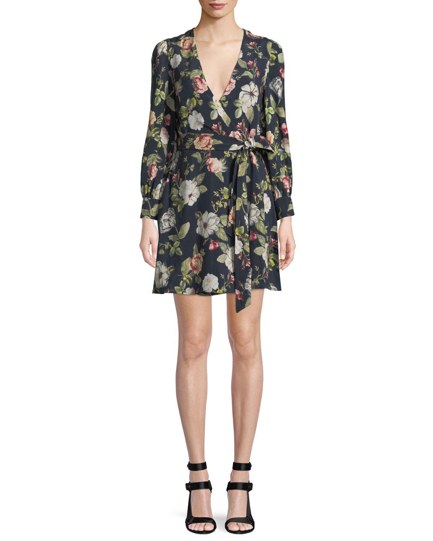 b31af7af840 Alice + Olivia Hannah Long-sleeve Floral Wrap Dress - Lyst