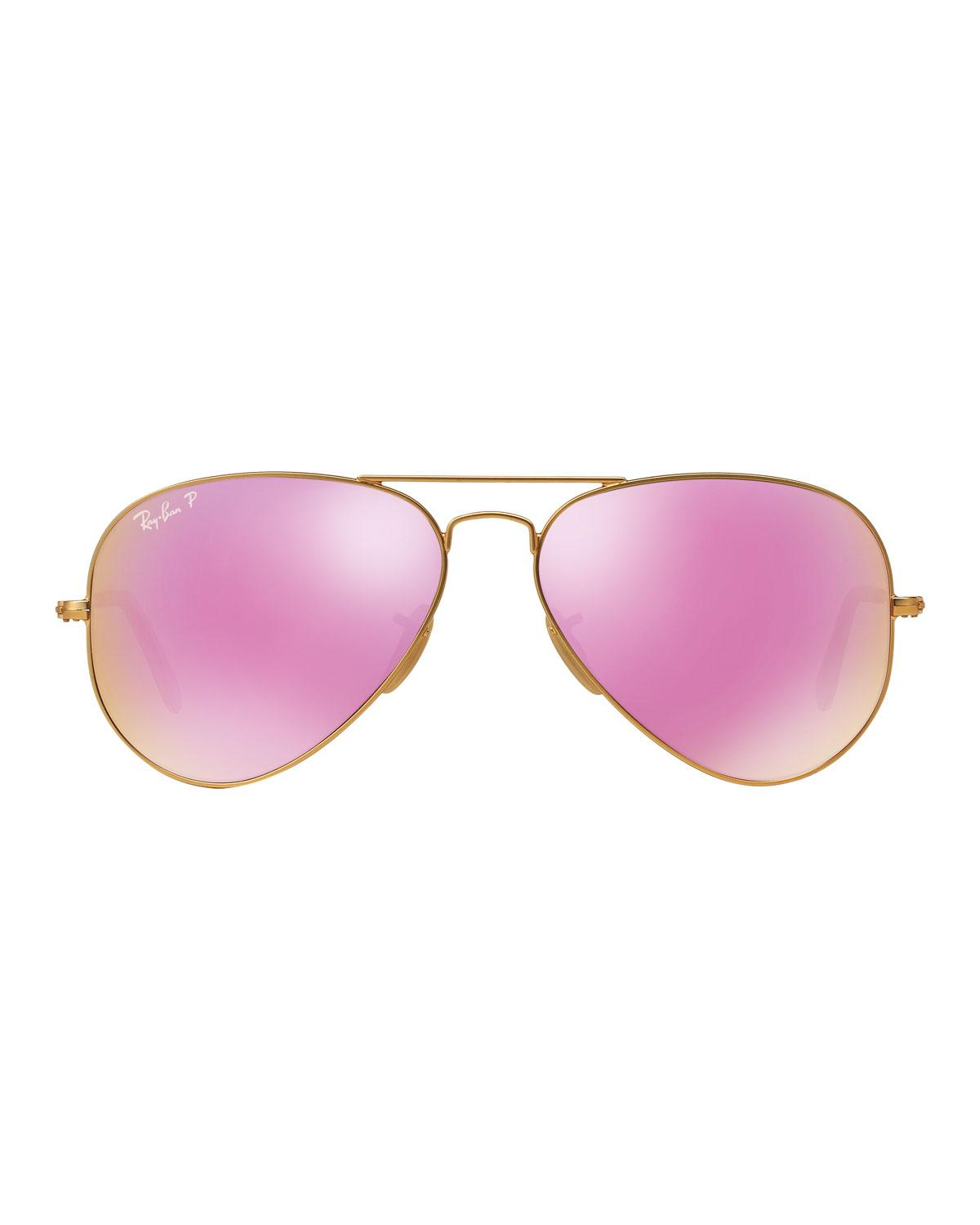 7c37184ca03 Lyst - Ray-Ban Mirrored Polarized Metal Aviator Sunglasses in Pink