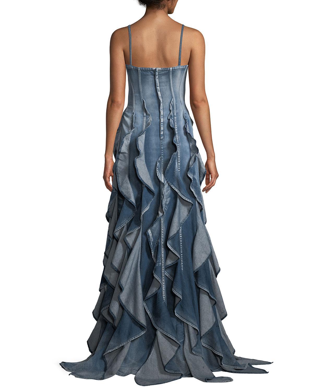 d6b9285619 Lyst - Ralph Lauren Collection Eve Sleeveless Ruffled Denim Evening ...