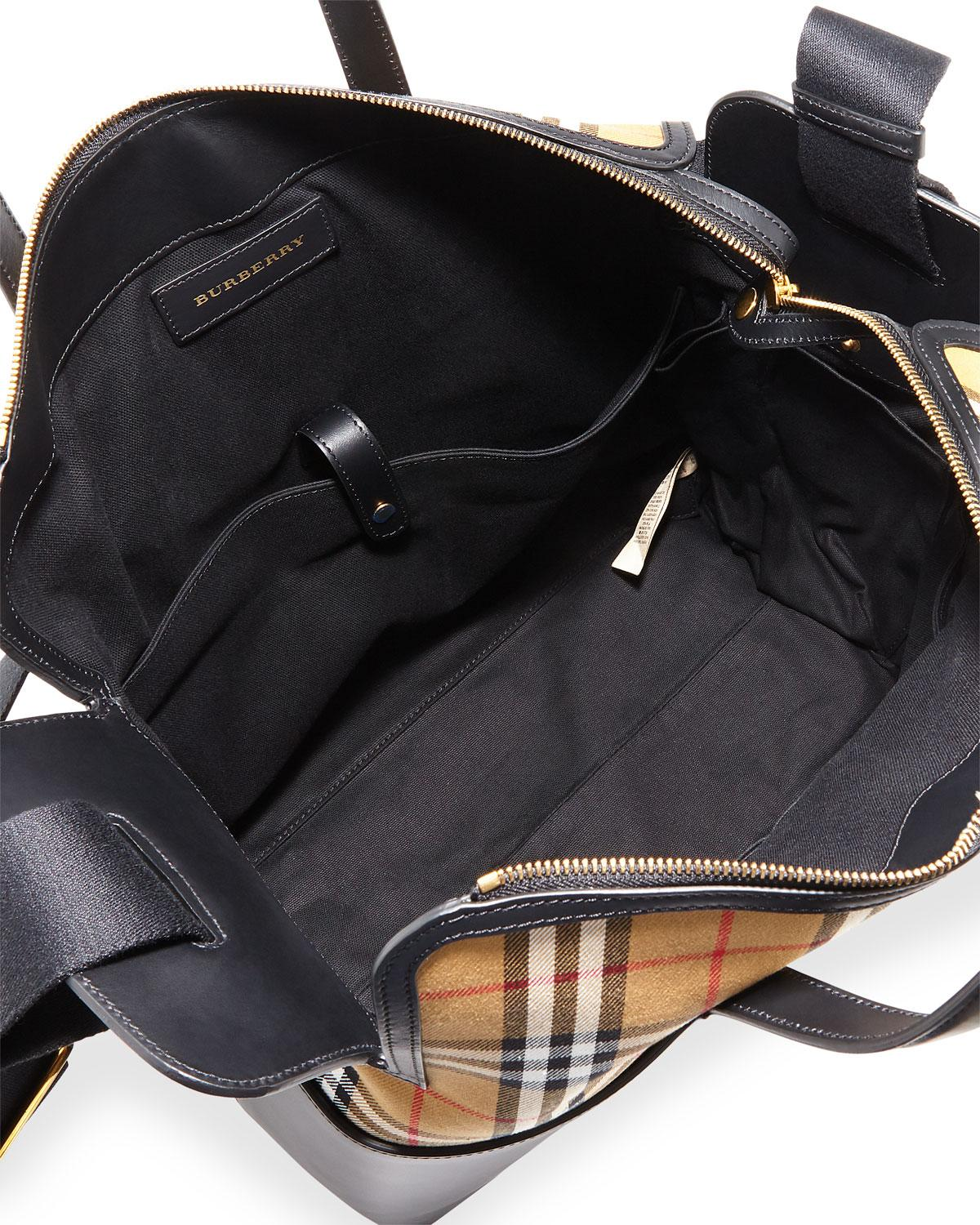 Lyst - Burberry Kingswood Vintage Check   Leather Diaper Bag in Black 87b961ba33819