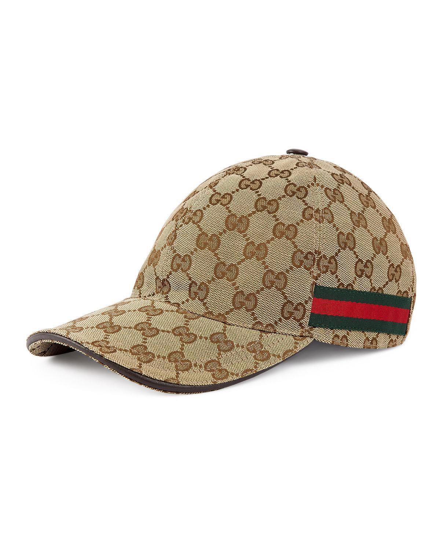 46797563ff8a Lyst - Gucci GG Web Stripe Baseball Cap in Brown for Men - Save 10%