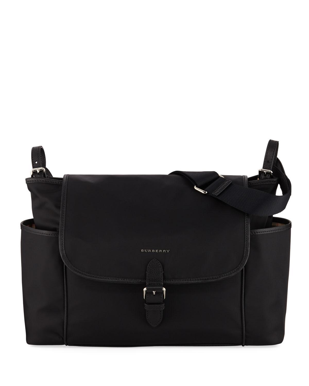 63965a314615 Burberry - Black Flap-top Canvas Diaper Bag for Men - Lyst. View fullscreen