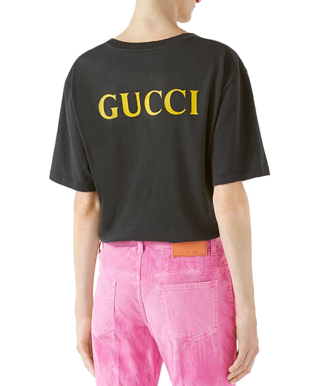 4f0777c89bd Lyst - Gucci Ac dc Print Cotton T-shirt