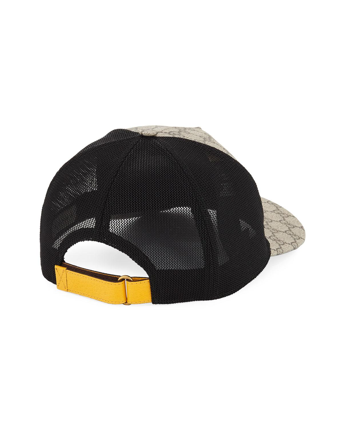 d491366c4ad Gucci GG Supreme Baseball Cap With Feline Head in Black for Men - Lyst