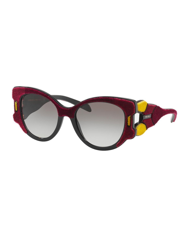 206d8e33e02a Lyst - Prada Butterfly Gradient Sunglasses W  Velvet Detail in Red
