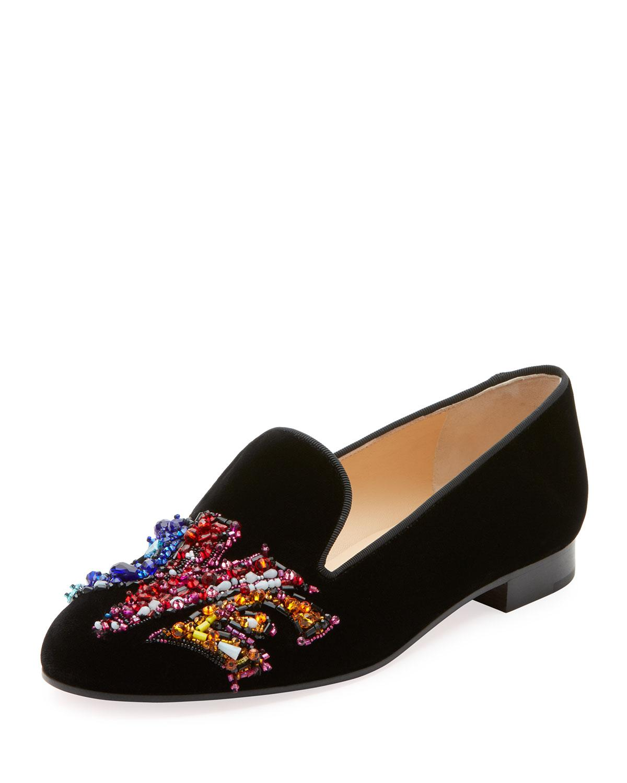 7b37818b6be Christian Louboutin - Black Solove Velvet Embellished Red Sole Loafers -  Lyst. View fullscreen