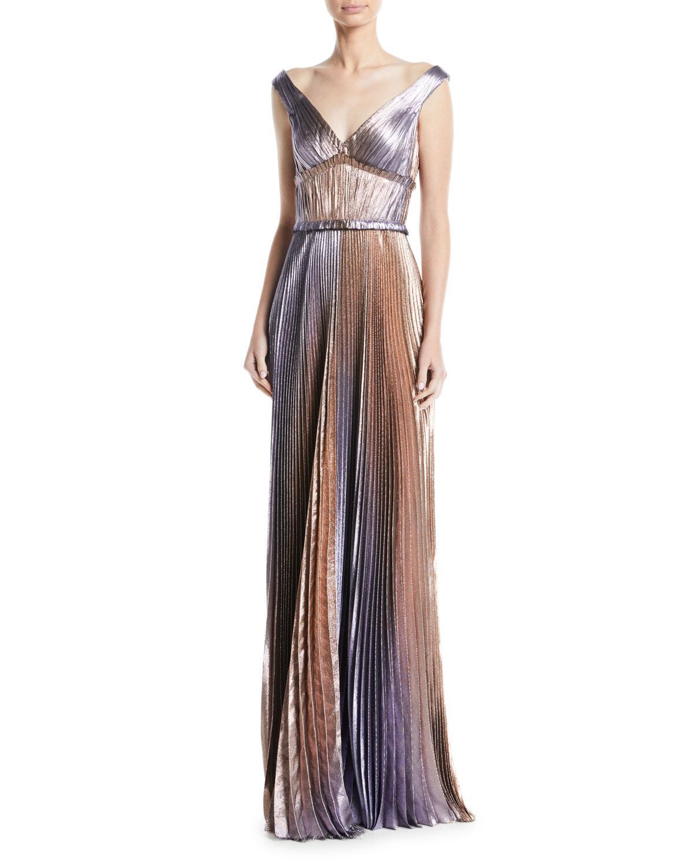 Lyst - J. Mendel V-neck Empire-waist Pleated Metallic Evening Gown