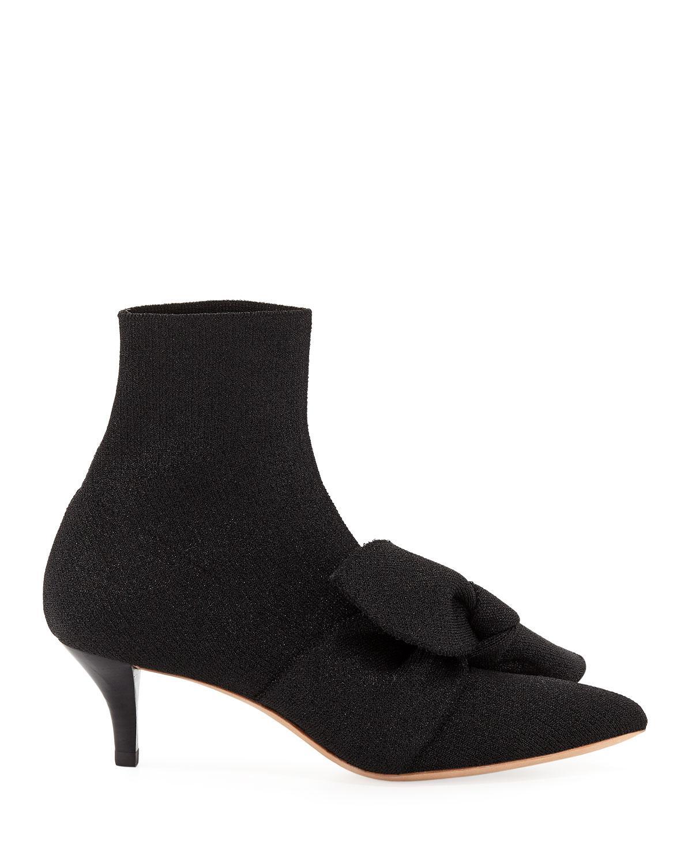 a65dff296b7 ... Loeffler Randall Black Kassidy Stretch Kitten-heel Booties With Bow.  Visit Bergdorf Goodman. Tap to visit site