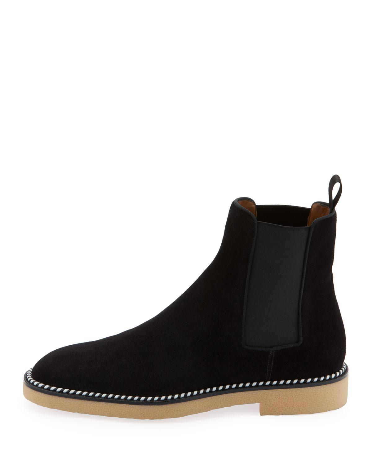 06cced830b2 Lyst - Christian Louboutin Men s Chelsea Crepe-sole Suede Boots in Black  for Men