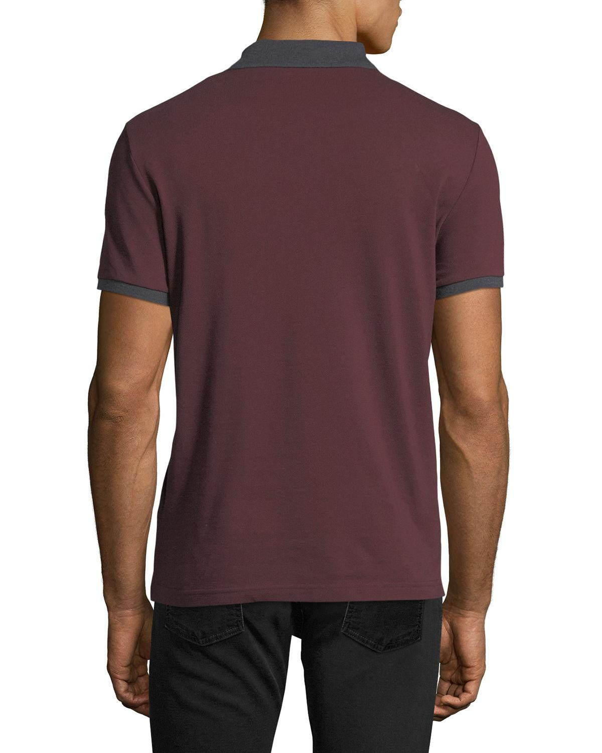 44207f729 Lyst - Moncler Cotton Pique Polo Shirt in Red for Men
