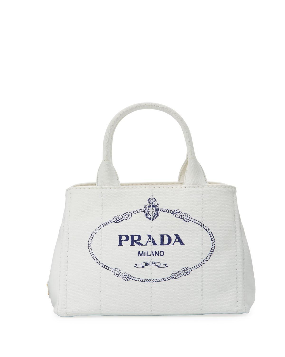 bc1954912f7a Prada Small Denim Tote Bag With Logo in White - Lyst