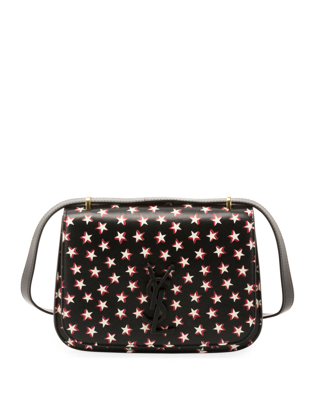 1ce09f5b99 Saint Laurent. Women s Black Small Spontini Star Print Leather Crossbody Bag  -