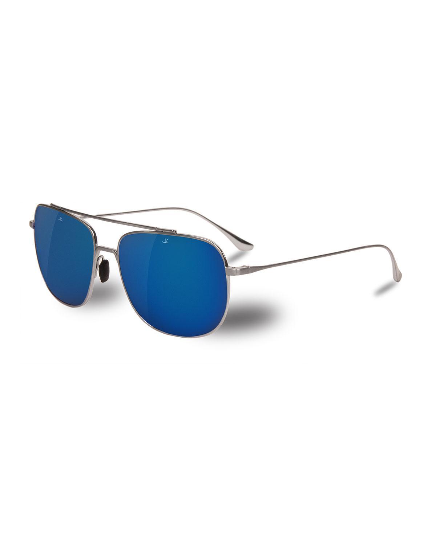a6902bedc9 Vuarnet. Men s Metallic Swing Titanium Rectangular Aviator Sunglasses