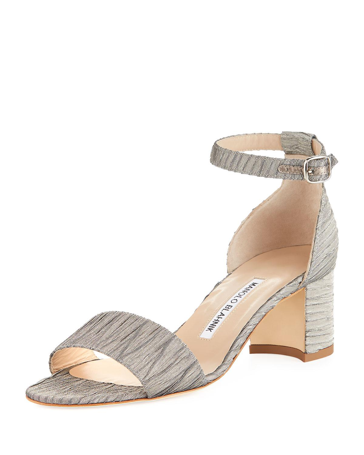 Manolo Blahnik Metallic Printed Sandals outlet low cost akFthS93O