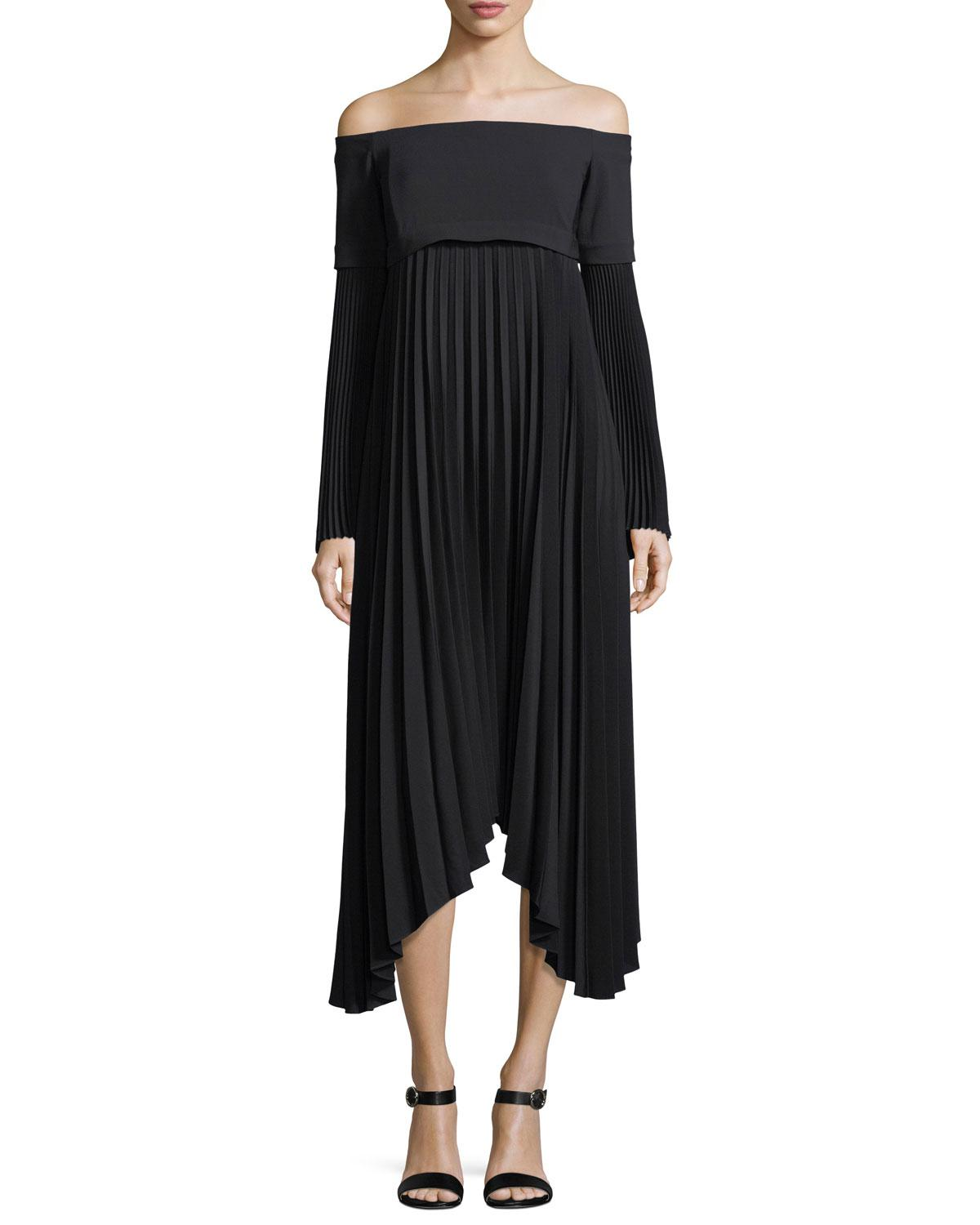 A L C Serena Off The Shoulder Long Sleeve Pleated Midi