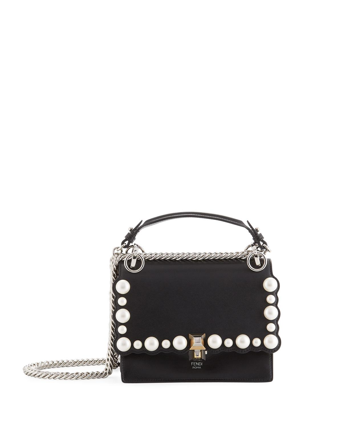 9dd8c4b02ff7 Lyst - Fendi Kan I Small Pearly-studded Leather Shoulder Bag in Black
