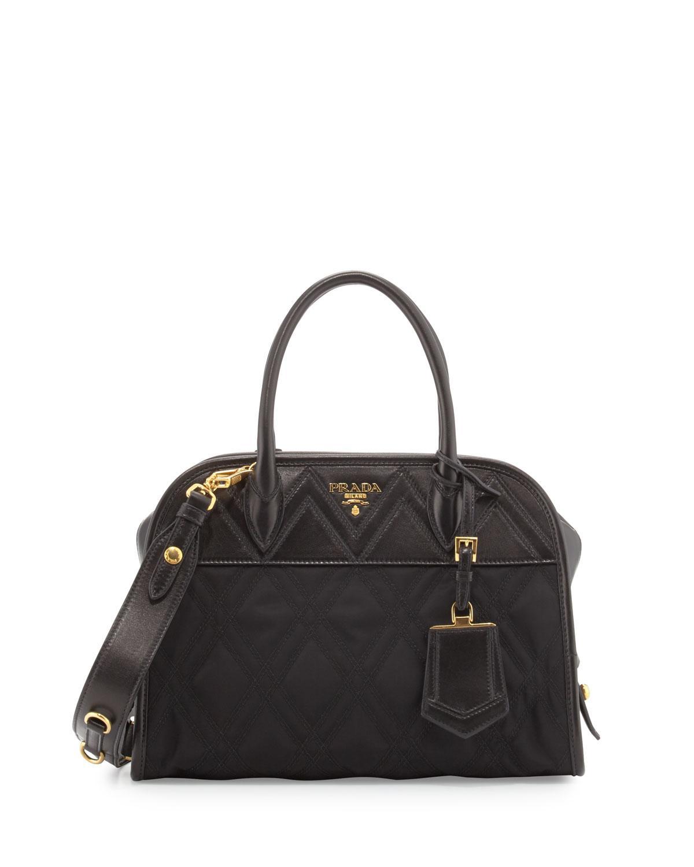 get lyst prada tessuto impunturato satchel bag in black 325a7 a57d6 02b39a723dfff