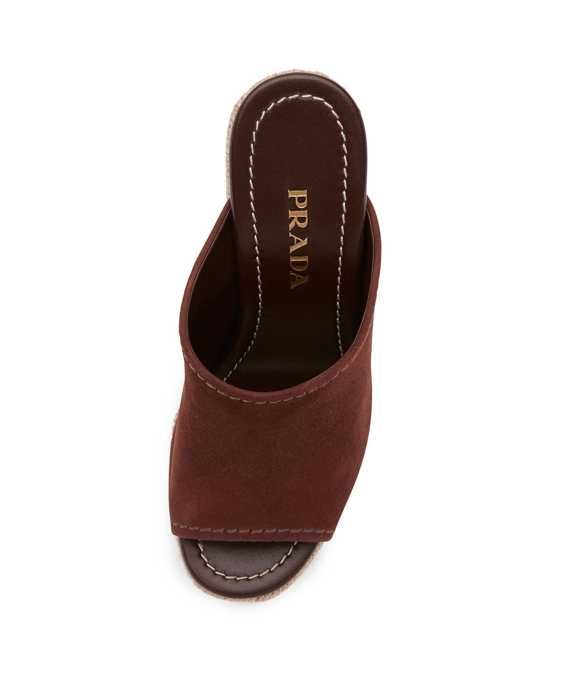 7f65226633c0 Prada Suede Wedge Espadrille Mule Sandal in Brown - Lyst