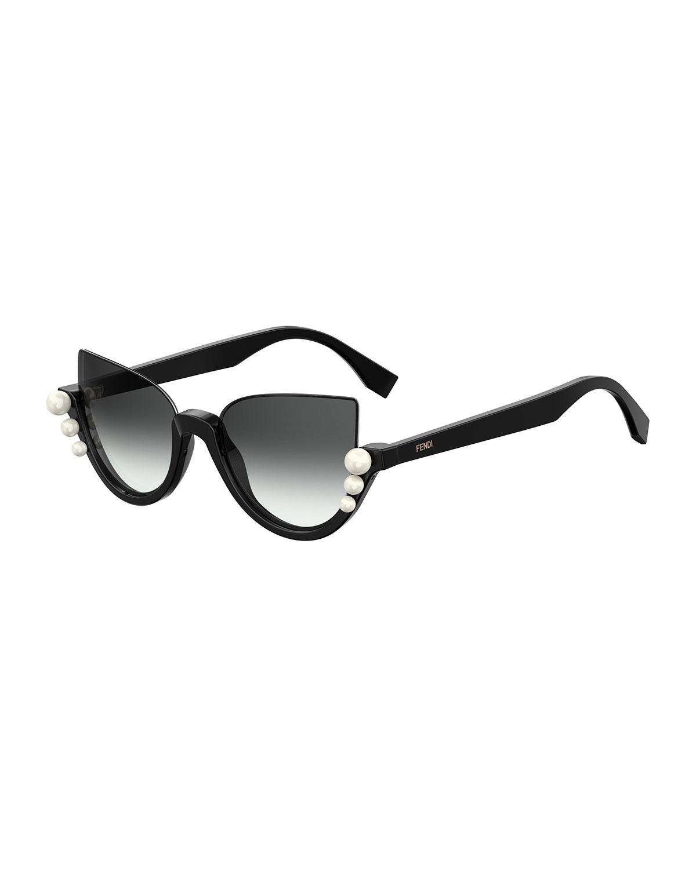 167053bd5af Lyst - Fendi Blink Half-rim Pearl Cat-eye Sunglasses in Black