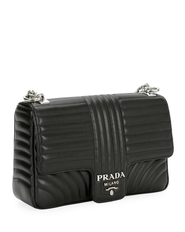 c57fda9755a Lyst - Prada Large Diagramme Shoulder Bag W  Chain Strap in Black