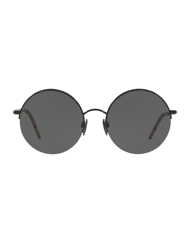 d26013cd82c Lyst - Burberry Monochromatic Round Semi-rimless Sunglasses in Black