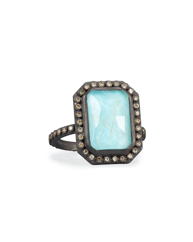 Armenta New World Cushion Turquoise & Quartz Doublet Ring blPeMN
