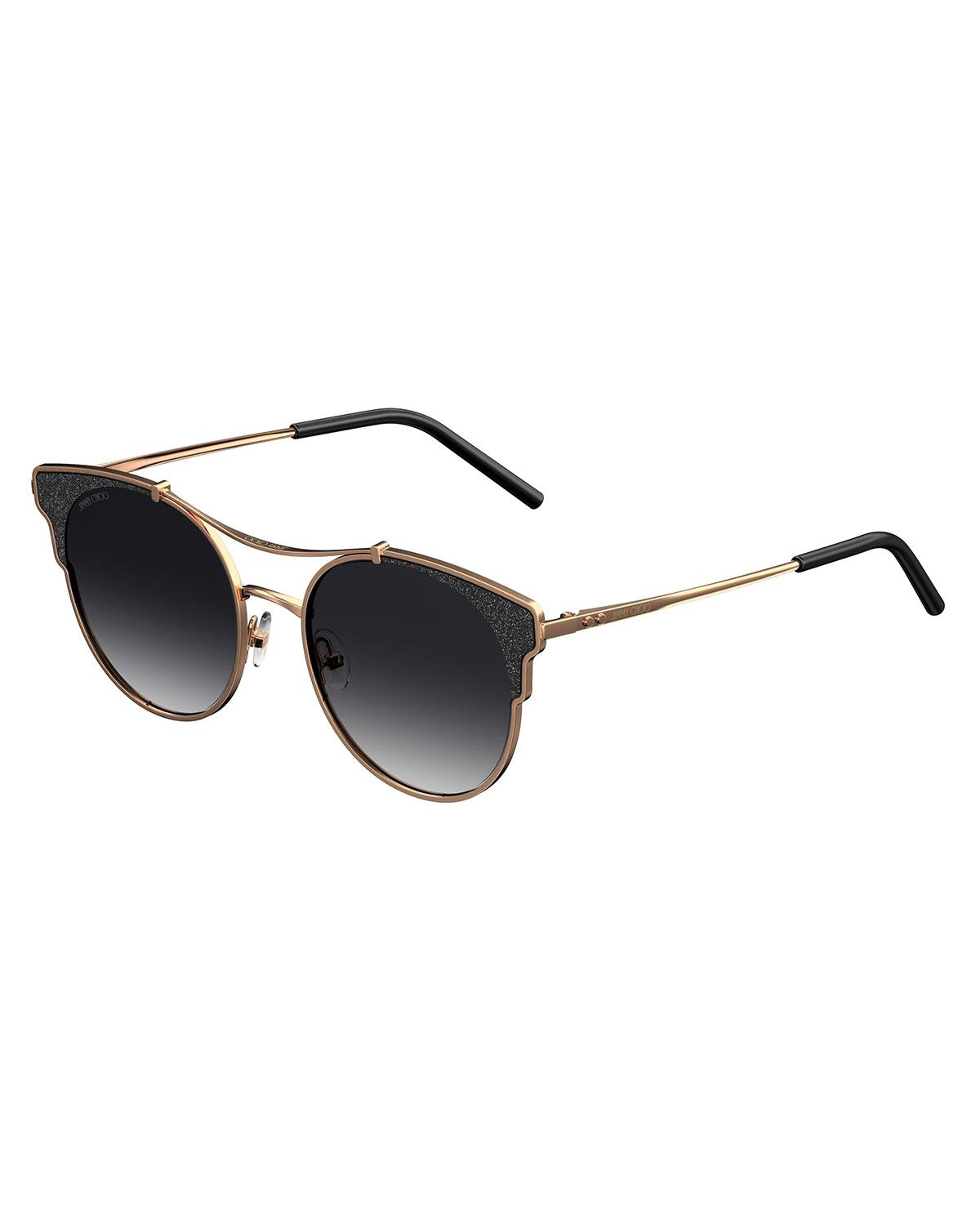 e83674c01425 Lyst - Jimmy Choo Lues Round Metal Sunglasses in Brown