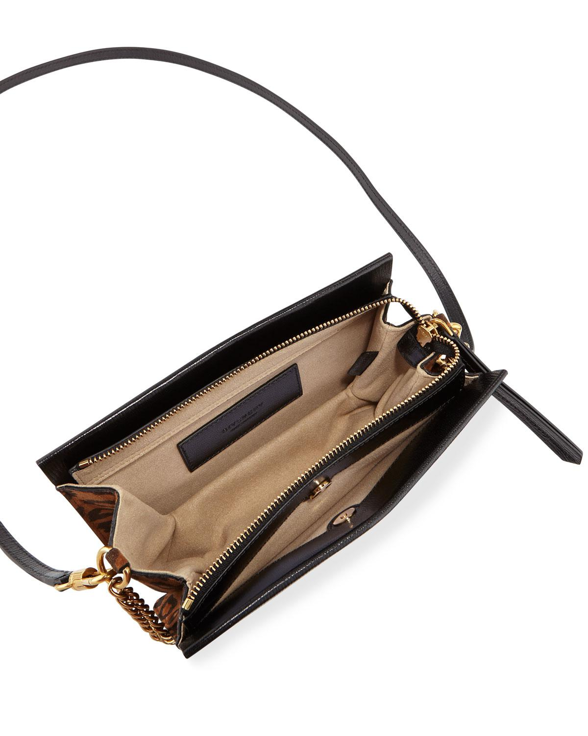 466c7a53e1 Lyst - Givenchy Cross 3 Leather   Leopard Suede Crossbody Bag in Black