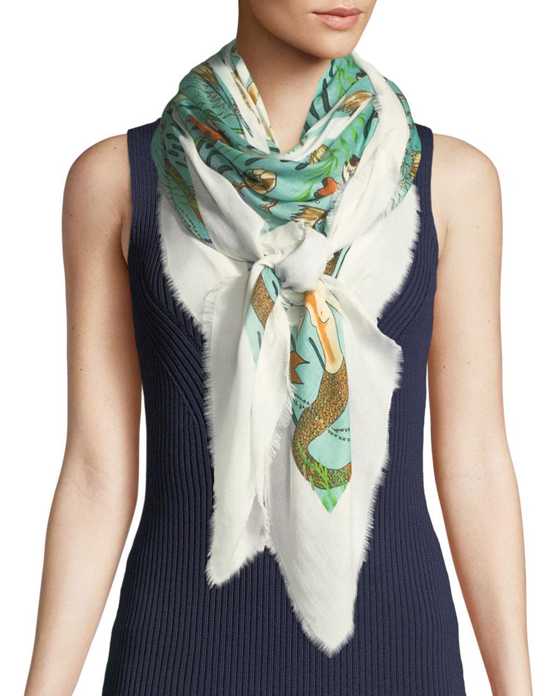 X Paulas Ibiza Mermaid printed scarf Loewe 9bnXWHFY2