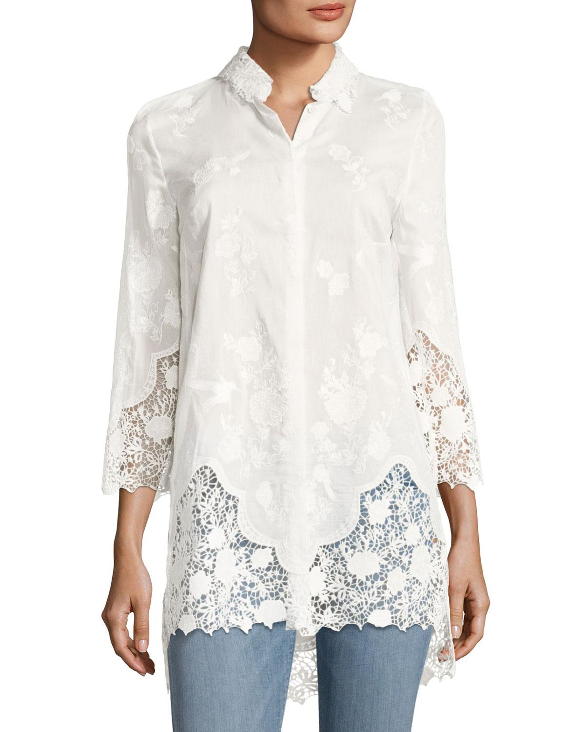 25983322a012 Elie Tahari Clark Floral Lace Long Blouse in White - Lyst