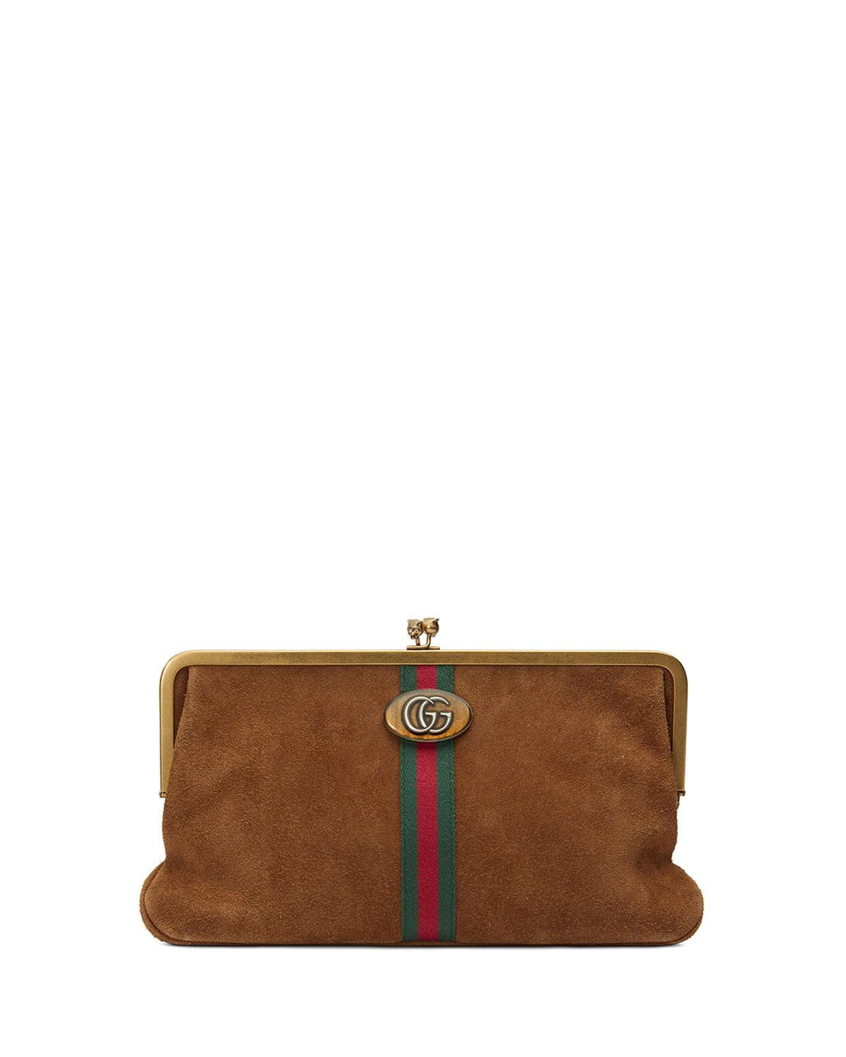 80c4d45c06ad1 Lyst - Gucci Ophidia GG Logo Suede Clutch Bag in Brown - Save 1%