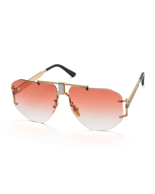 c75f2d9ea05 Lyst - Céline Rimless Gradient Aviator Sunglasses in Pink