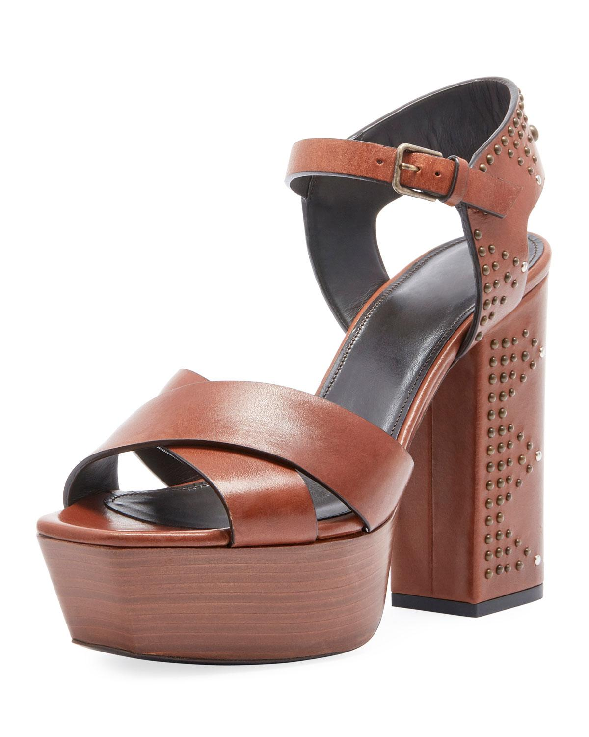 cf8dd693c8f Lyst - Saint Laurent Farrah Studded Leather Platform Sandal in Brown ...