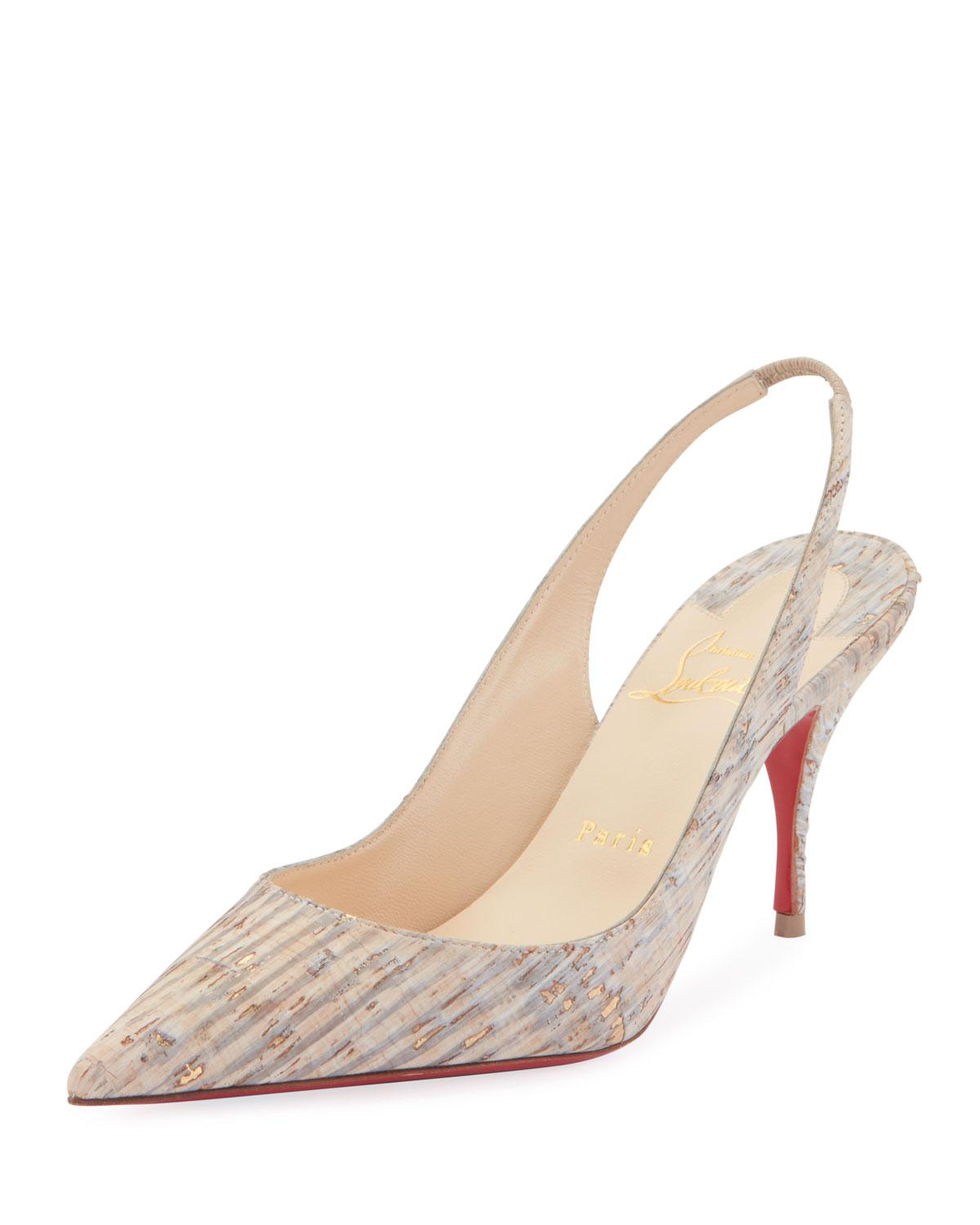 2761c938a10 Lyst - Christian Louboutin Clare Cork Red Sole Slingback Pumps in ...