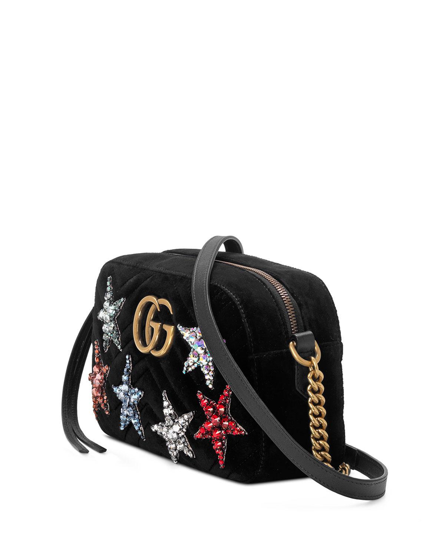 9c670c65e Gucci GG Marmont Crystal-star Velvet Camera Bag in Black - Lyst