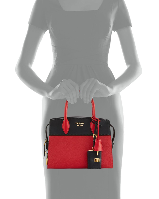 cde54eb7fbebd3 Lyst - Prada Esplanade Medium Bicolor City Satchel Bag in Black