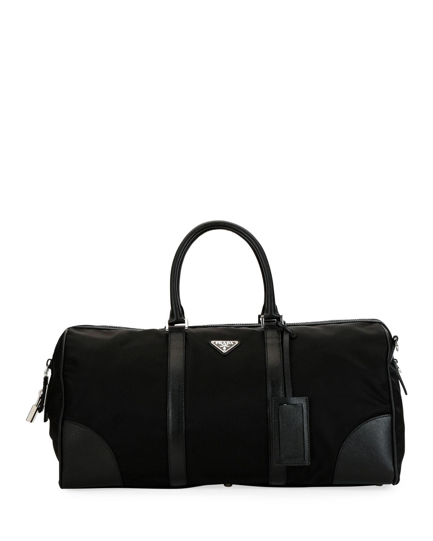 97ebd8974c19 Prada Men s Nylon   Saffiano Duffel Bag in Black for Men - Lyst